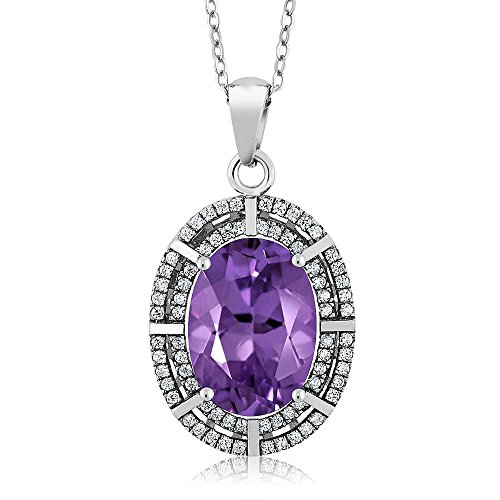 6.54 Ct Oval Natural Purple Amethyst 925 Sterling Silver Ladies Pendant Necklace