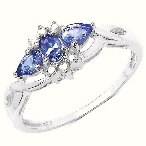 The Tanzanite Ring Collection: Ladies Sterling Silver Tanzanite & Diamond Engagement Ring with 0.46 Carats of Genuine Tanzanite & 2 Diamonds (Size K). Comes in a Quality Ring Case for that Special Gift.