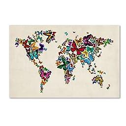 Trademark Fine Art Butterflies Map of The World II Artwork by Michael Tompsett, 30 by 47-Inch