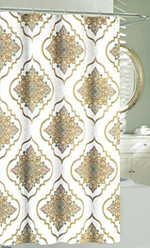 Nicole Miller Large Ornate Medallion Fabric Shower Curtain 72 Inch By Taupe Beige Grey Blue Yellow Orange White
