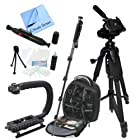 Outdoor Adventure Package For The Canon EOS 60D, 60Da, 7D Digital SLR Cameras. Includes - Pro Series Waterproof Backpack, 60 3-way Panhead Movement Tripod, 72 Monopod, Camera Stabilizing Handle/Grip, Cleaning Kit, Lens Pen, LCD Screen Protectors & CS Microfiber Cleaning Cloth