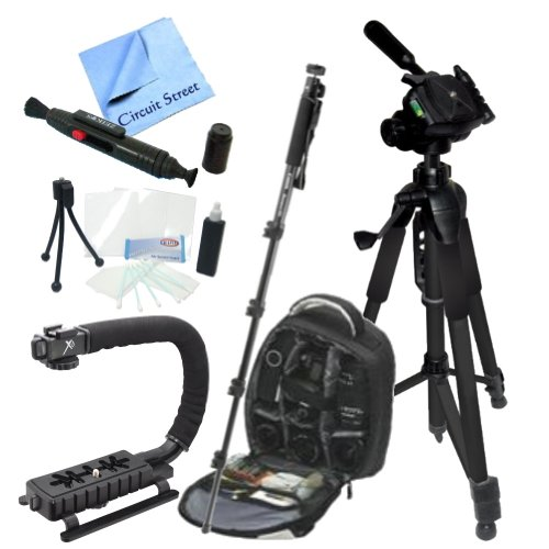 "Outdoor Adventure Package For The Canon Eos 6D, 7D, 5D Mark Ii, 5D Mark Iii Digital Slr Cameras. Includes - Pro Series Waterproof Backpack, 60"" 3-Way Panhead Movement Tripod, 72"" Monopod, Camera Stabilizing Handle/Grip, Cleaning Kit, Lens Pen, Lcd Screen"