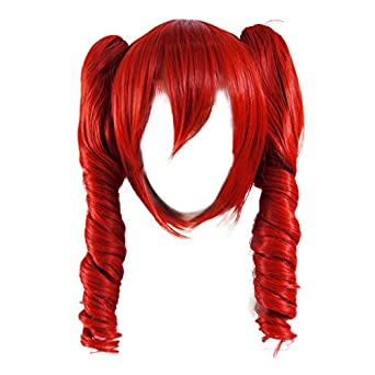 Dream2reality Cosplay Prop Vocaloid Family_Kasane Teto_red_Middle-length twin tail curly wig