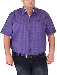 Xmex Men's Cotton Shirt (KR-HSECORED, Violet, XXX-Large)
