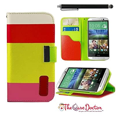 Click for TCD Pink Yellow Red Colorful Wallet Pu Leather Credit Card Holder Pouch Case Cover for HTC One M8 with Screen Protector & Stylus
