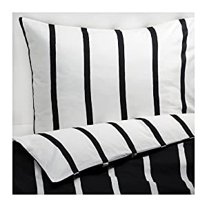 ikea tuvbracka housse de couette et deux taies d oreiller noir blanc 150x200 50x80 cm