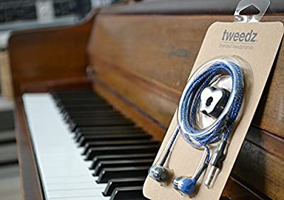 Tweedz Blue Earbuds - Durable Headphones with Braided Fabric Wrapped Cords