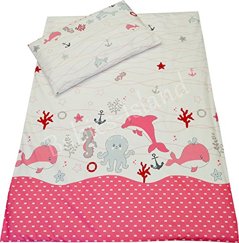 2-Pieces-bedding-set-to-fot-cotcot-bed-toddler-bed-PillowcaseDuvet-Cover-Girls-PINK-SEA-FISH-NAUTICAL