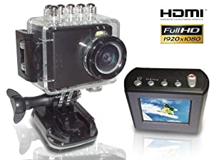 HD PRO 1 Action Cam Full HD + 60 Bilder/Sekunde + 5 Megapixel + 1,5 Zoll LCD Display (HDMI, USB, AV-Out) schwarz
