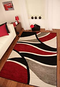 """Toledo Black, Red and Grey Modern Wave Soft Rugs P120 70x130cm (2'4"""" x 4'3"""")"""