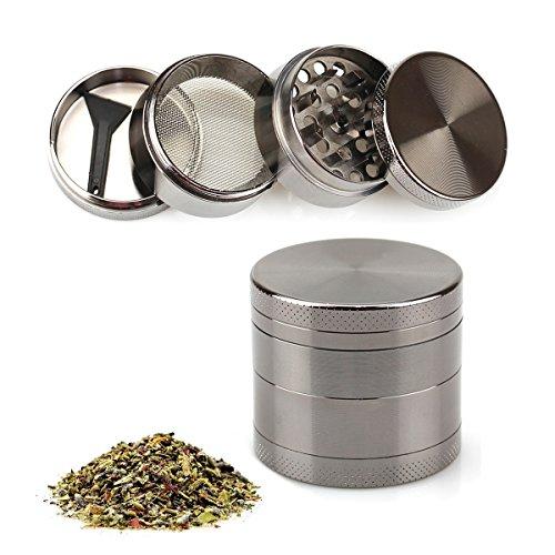 Naisidier Herb Grinder Tobacco Spice Grinder with Pollen Catcher – 1.6 Inch 4 Piece, Silver