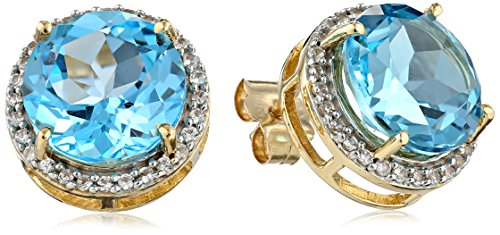 10k Yellow Gold Round-Shape Blue Topaz and Created White Sapphire Stud Earrings