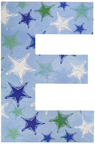 The Kids Room by Stupell Blue Distressed Stars Hanging Wall Initial, E