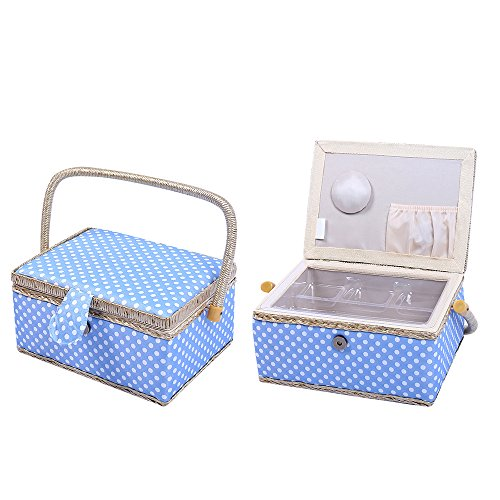 "Polka Dot Sewing Basket Home Storage Box ,31 Pcs Sewing Kit Accessories,9.4"" x 6.9"" x 5.9"" (Blue)"