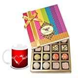 Valentine Chocholik Belgium Chocolates - Fabulous Collection Of White Truffles With Love Mug