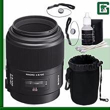 Sony 100mm f28 Alpha A-Mount Macro Lens Green39s Camera Bundle 23