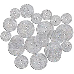 Favorite Findings Glitter Buttons-Clear Transparent 20/Pkg