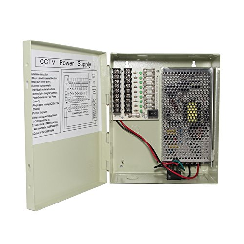 InstallerCCTV 9 Outputs 12 Amp 12V DC CCTV Distributed Power Supply Box for Security Camera, UL Listed (Security Camera Power Supply Box compare prices)