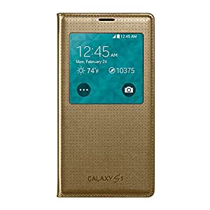 Samsung Galaxy S5 S View Flip Cover Case - Retail Packaging - Copper Gold