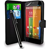 Motorola Moto G Black Leather Wallet Flip Case Cover Pouch + Free Screen Protector & Touch Stylus Pen + Polishing Cloth