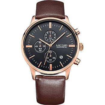 Megir Mens Vintage Chronograph Luminous Brown Leather Quartz Wrist Watches