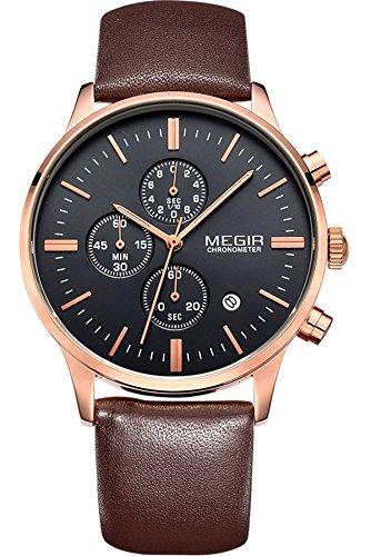 Megir Mens Vintage Chronograph Luminous Brown Leather Quartz Wrist Watches 1