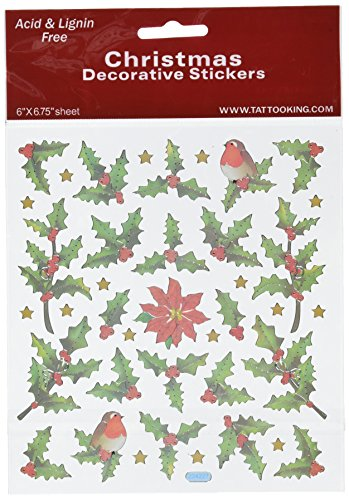 Tattoo King SK129MC-1291 Multicolored Sticker, Holly Berries and Birds