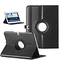 ULAK [360 Rotating Stand Case] Smart Case Function Auto Wake / Sleep + Synthetic Leather for Samsung Galaxy Tab 3 10.1 (10.1 inch) 2013 Release Black from ULAK
