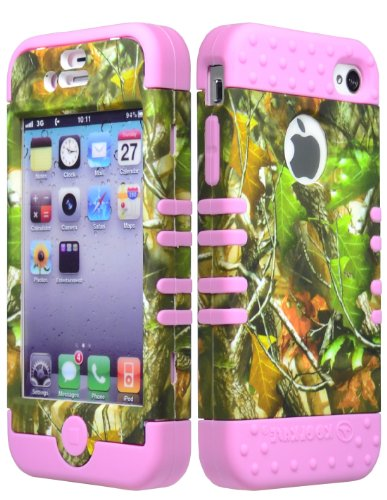 Bastex Dynamic Hybrid Case For Apple Iphone 4, 4S - Baby Pink Silicone With Hard Camo Shell front-647427