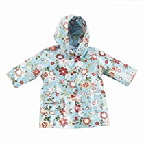 Girls Cute Blue Floral Print Unlined Raincoat 4/5