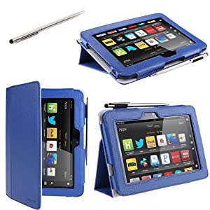 "i-BLASON Kindle Fire HD 7"" inch Tablet Leather Case Cover / Stylus (16GB WiFi) 3 Year Warranty from i-Blason"