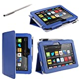 "i-BLASON Kindle Fire HD 7"" inch Tablet Leather Case Cover / Stylus (16GB WiFi) 3 Year Warranty (Dark Blue)"