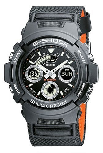 Casio G-Shock Watch Analogue and Digital Quartz AW-591MS-1AER Black Rubber Nylon Strap Sport Stopwatch Timer Alarm Time Zones