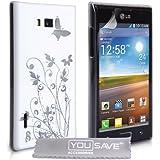 LG Optimus L7 P700 Tasche Optimus L7 Weiß / Silber Harte Blumen Schmetterling Hülle