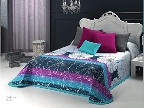 Textilhome - Colcha Bouti estampada AKELA 105 cm. Color Azul