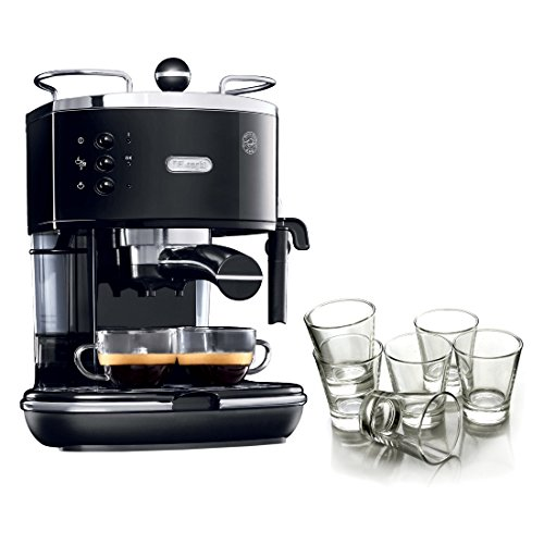DeLonghi Icona Black Pump Espresso Maker with Free Set of 6 Italian Espresso Shot Glasses
