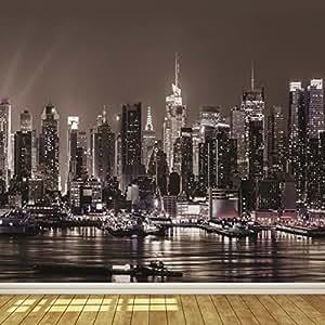 New york city skyline at night 8 wallpaper mural amazon for Chicago skyline mural wallpaper