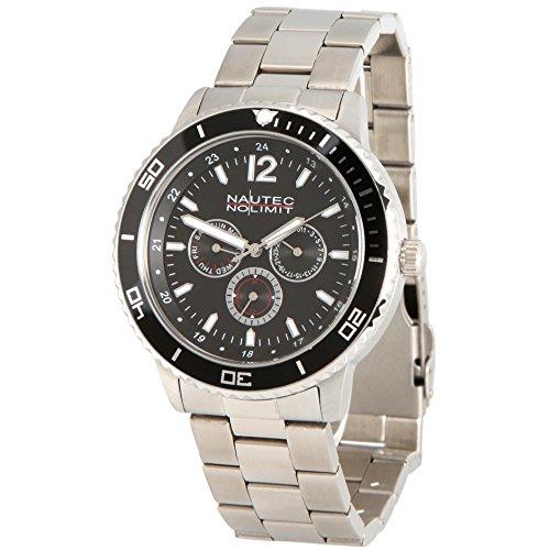 No limit Nautec hombre-reloj analógico de cuarzo de acero inoxidable Glacier GLAC-QZ-STST-BK