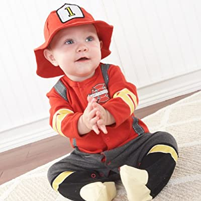 Baby Aspen Baby Boys Firefighter Layette Set in Gift Box, Red, 0-6M
