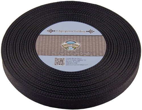 Buy Bargain Country Brook Design® 1 Inch Black Polypro Webbing, 25 Yards