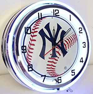 NEW YORK YANKEES NY BASEBALL 18 NEON LIGHT WALL CLOCK TEAM STADIUM LOGO SIGN BLUE