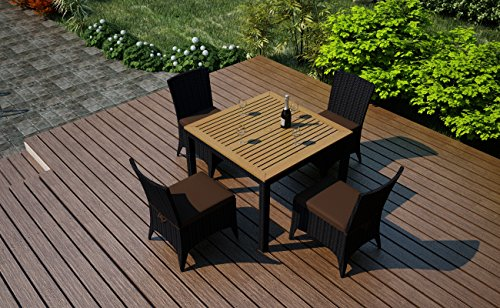 Harmonia Living Arbor 5 Piece Modern Outdoor Wicker Dining Set with Brown Sunbrella Cushions (SKU HL-AR-5DN-CO) photo