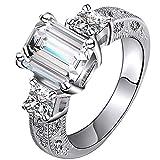 FENDINA Jewelry 18K White Gold Plated Wedding Engagement Rings Bling Square Zircon for Women Gift