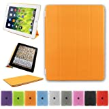 Besdata® Ultra Thin Magnetic Smart Cover + Back Case For Apple iPad 2 iPad 3 ipad 4, 2nd, 3rd & 4th Generation - Supreme Quality - Protects the Device - UK Stock - Orange - PT2607