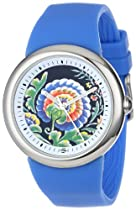 "PeaceLove Unisex F36S-PLFBL-BL  Round Stainless Steel Blue Silicone Strap and ""Zotos"" Art Dial Watch"