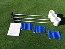 Deluxe Putting Green Accessory Kit - 3 Plastic 6 Inch PGA Cups & 3 Pin Markers with Blue Jr Flags