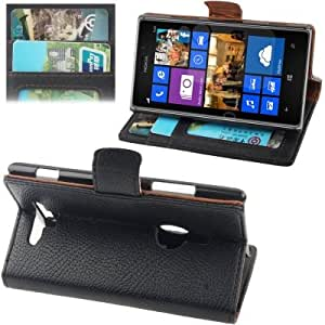 Crazy4Gadget Gravel Texture Leather Case with Holder & Credit Card Slots for Nokia Lumia 925 (Black)