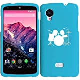LG Google Nexus 5 Rubber Hard 2 Piece Snap On Case Cover Drum Set Light Blue