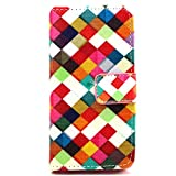 iPhone 6 Plus Case, Flip Folio PU Leather Case [Card Holster] [Stand Feature] Wallet Shell with Magnetic Closure Slender Skin for Apple iPhone 6 Plus (Gifts: 1x Stylus + 1x Screen Protector) -Colorful Grids