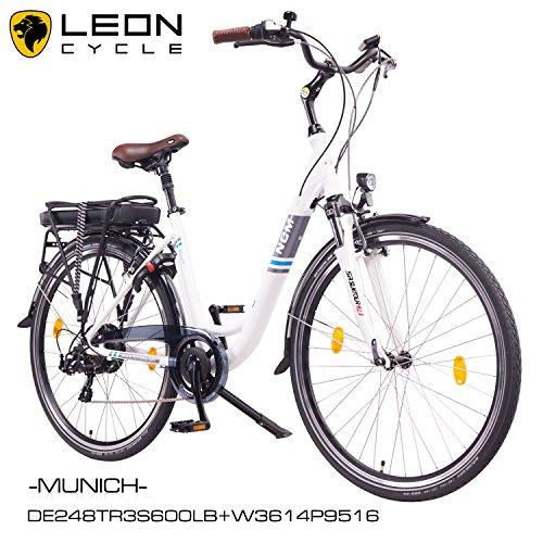 NCM-Munich-201626-Zoll-Elektrofahrrad-HerrenDamen-Unisex-PedelecE-BikeCity-Bike-Rad-36V-250W-14Ah-Lithium-Ionen-Akku-mit-PANASONIC-Zellen-matt-wei